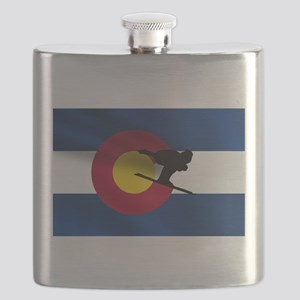 Colorado Skiing Flag Flask